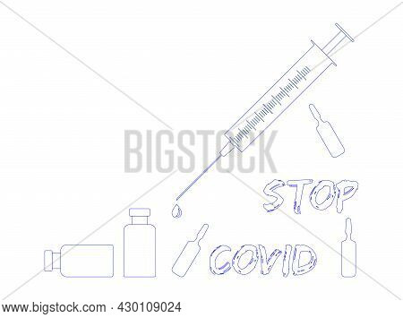 Stop Covid-19 Concept World Map With Stop Covid-19 Sign Vector Illustration. Covid-19 Prevention Des