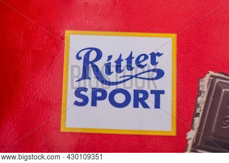 Huettenberg, Germany - 2021-07-24,  Ritter Sport Chocolate Logo In Detail. Ritter Sport Chocolate Wi