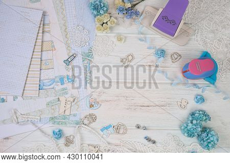 Scrapbooking. Elements For Creating A Handmade Album. Scrapbooking Photo Album Made For A Newborn Ba
