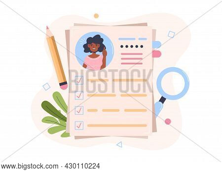 Curriculum Vitae Or Cv. Concept Dossier For Managers Recruiting For Company. Selection Of Candidates