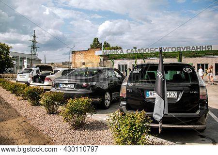 Chernigov, Ukraine - July 24, 2021: Saab Cars Are Parked In A Row. Saab 9-5, 9-3. Different Saab Car