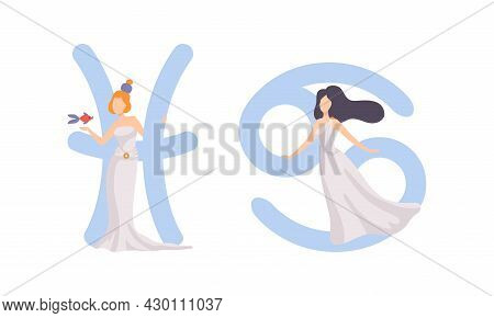 Astrological Sign Or Sign Of Zodiac With Female Near Pisces And Cancer Symbol Vector Set