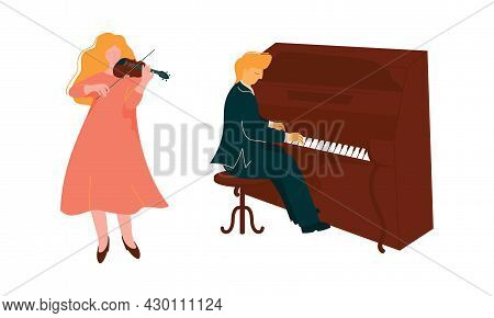 Man And Woman Musician Instrumentalist Performing Music Playing Musical Instrument Vector Set