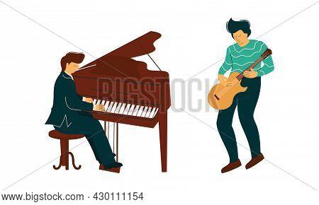 Man Musician Instrumentalist Performing Music Playing Musical Instrument Vector Set