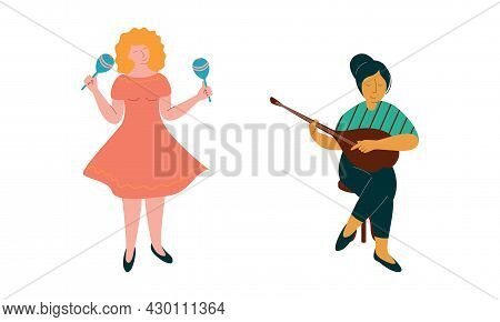 Woman Musician Instrumentalist Performing Music Playing Musical Instrument Vector Set