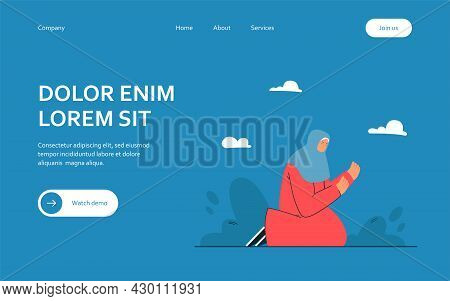 Woman With Covered Head Praying At Night. Flat Vector Illustration. Female Character Sitting On Knee