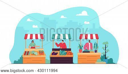 Local City Market And Fresh Plant Food Vendors. Flat Vector Illustration. Vendors Selling Vegetables