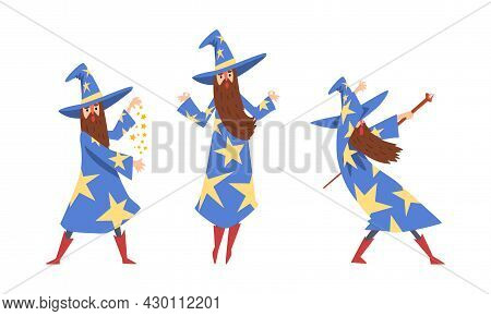 Sorcerer In Pointed Hat And Starry Gown Practicing Wizardry And Witchcraft With Magic Wand Vector Se
