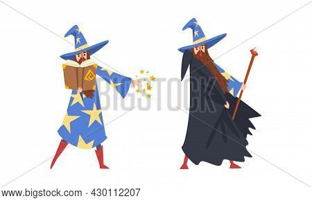 Sorcerer In Pointed Hat And Starry Gown Practicing Wizardry And Witchcraft With Magic Stick And Spel