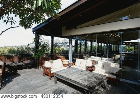 View of nice luxury terrace and garden of comfortable modern home. modern architecture and domestic interior design.