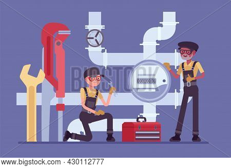 Plumbers Or Inspector Of Plumbing Service, Water Counting Meter Installation. Calibration, Maintenan