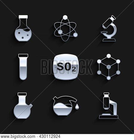 Set Sulfur Dioxide So2, Test Tube, Microscope, Molecule, And Icon. Vector