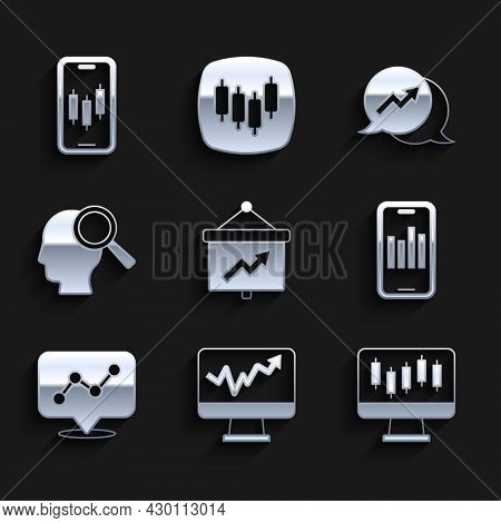 Set Board With Graph, Monitor Chart, Stocks Market Growth Graphs, Mobile, Graph Infographic, Search
