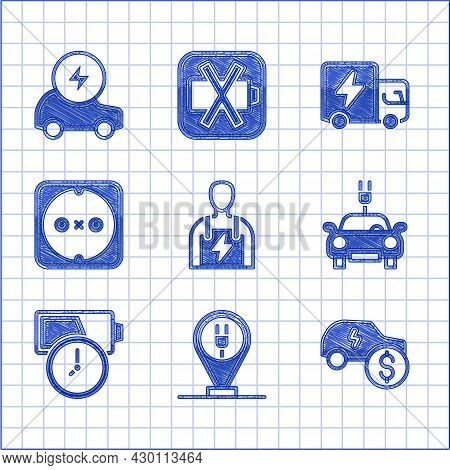 Set Car Mechanic, Charging Parking Electric Car, Electric Price, Battery Charge, Electrical Outlet,