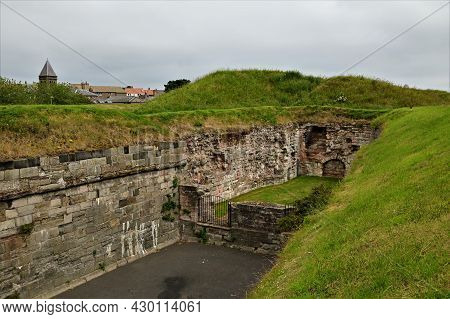 A View Of The Medieval Old Town Defensive Wall Which Surrounds The Northumberland Town Of Berwick Up
