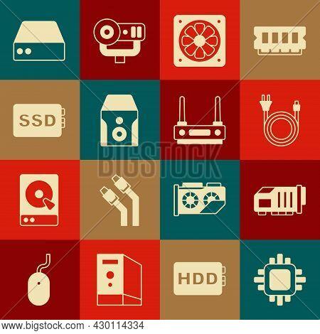Set Processor With Cpu, Video Graphic Card, Electric Plug, Computer Cooler, Uninterruptible Power Su