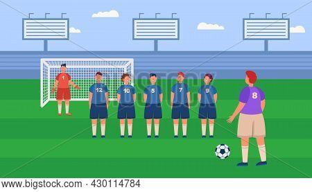 Cartoon Football Player Ready For Penalty Kick At Stadium. Man Kicking Soccer Ball Towards Goalkeepe