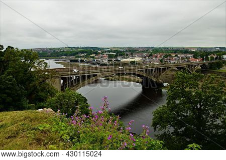 A View Of The Bridges Which Span The River Tweed In The Northumberland Town Of Berwick Upon Tweed