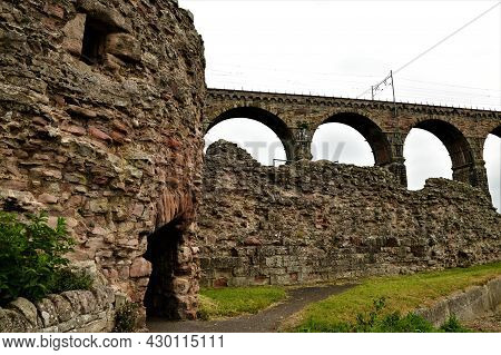 A View Of The Ruins Of The Old Stone Castle Building In The Northumberland Town Of Berwick Upon Twee