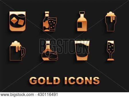 Set Whiskey Bottle And Glass, Glass Of Beer, Champagne, Shot, Wooden Mug, Vodka, Whiskey And Beer Ic