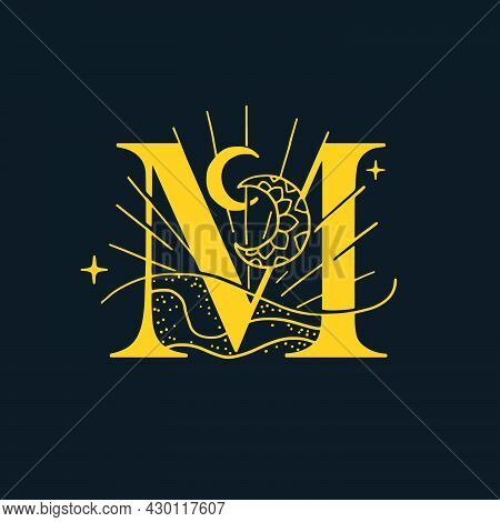M Letter Logo In The Astrological Style. Hand Drawn Monogram For Magic Postcards, Medieval Style Pos