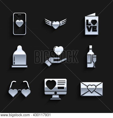 Set Heart In Hand, Dating App Online, Envelope With Valentine Heart, Champagne Bottle, Shaped Love G