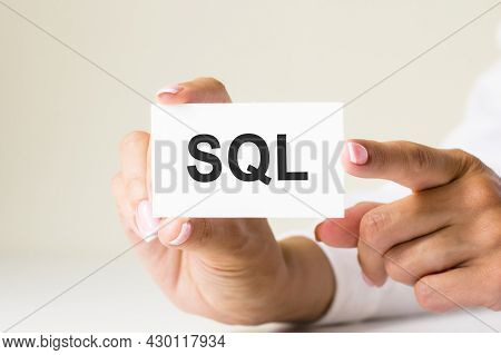 Phrase Sql - Structured Query Language - Written On A White Paper Card