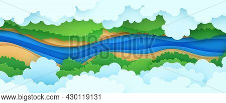 Top View Cloudy Landscape In Paper Cut Style. Aerial View 3d Background With River Forest Canopy And