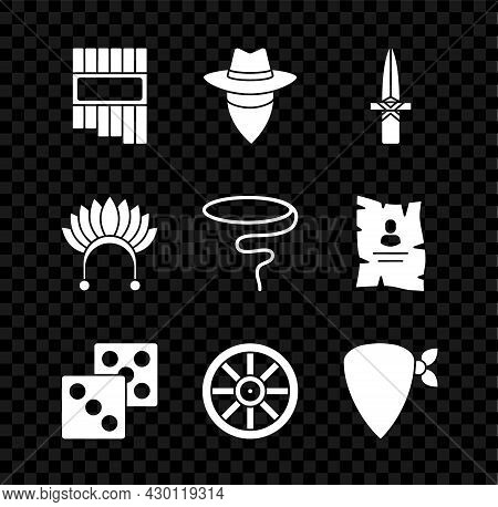 Set Pan Flute, Cowboy, Dagger, Game Dice, Old Wooden Wheel, Bandana, Indian Headdress With Feathers