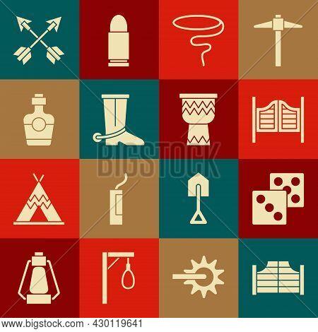 Set Saloon Door, Game Dice, Lasso, Cowboy Boot, Tequila Bottle, Crossed Arrows And Drum Icon. Vector