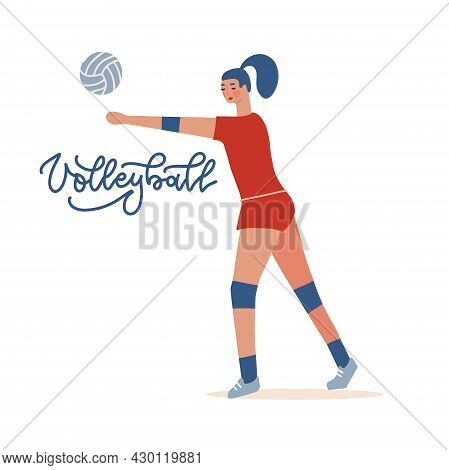 Female Volleyball Player, Sportswoman Playing Indoor Volleyball. Sporting Championship Competition.