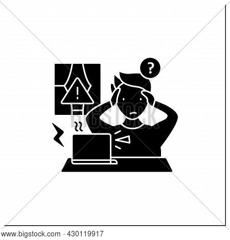 Remote Work Glyph Icon. Technical, Equipment Issues.work Instrument Broken. Career Difficulties Conc