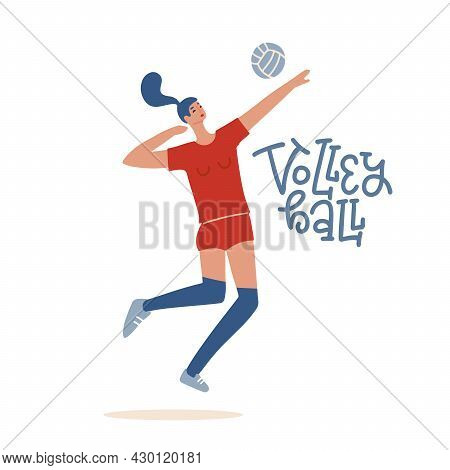 Girl Volleyball Player Jumping To Spike An Incoming Serve. Sportswoman Playing Indoor Volleyball. Sp