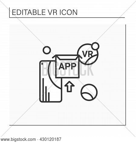 Vr Apps Line Icon. Applications Help Immersive In 3d World, That Digitally Simulates Virtual Environ