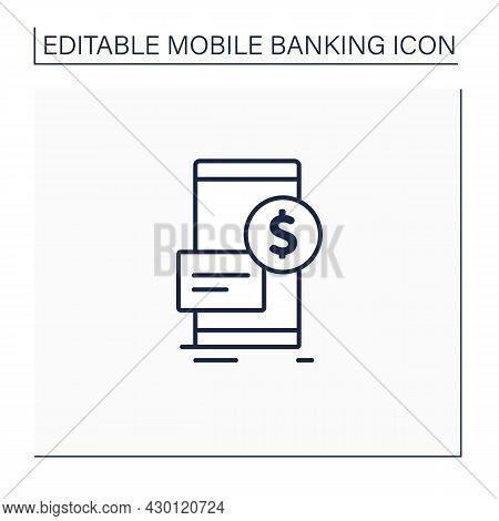 Mobile Deposit Line Icon. Way To Borrow Money Using Phone. Carrying Out Financial Transactions Throu