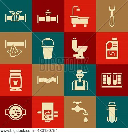 Set Water Filter, Test Tube With Water Drop, Drain Cleaner Bottle, Bathtub, Bucket, Broken Pipe, Ind