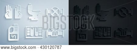 Set Test Tube With Water Drop, Industry Pipe And Valve, Drain Cleaner Bottle, Metallic, Toilet Bowl
