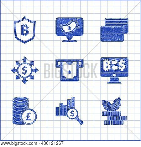 Set Atm And Money, Pie Chart Dollar, Dollar Plant, Cryptocurrency Exchange, Coin With Pound, Dollar,
