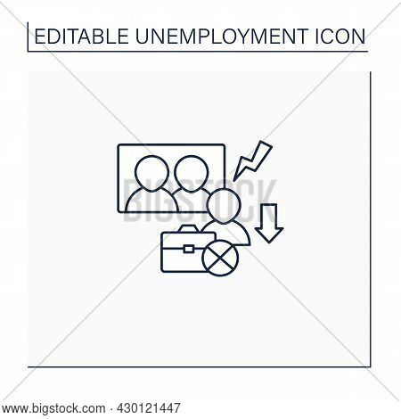 Downsizing Line Icon.company Labor Force Reduction.unproductive Workers Elimination. Fired Worker. S