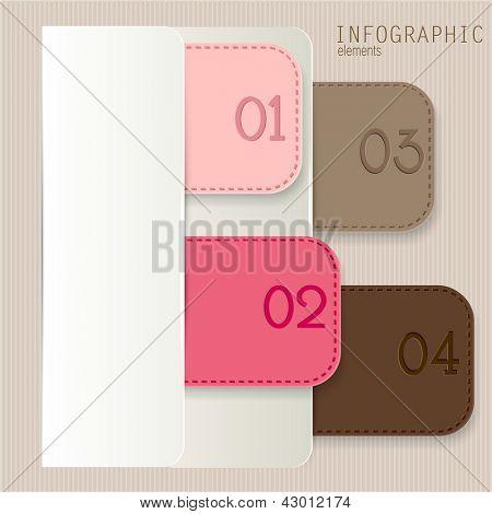Satz von Lesezeichen, Aufkleber, Etiketten, Tags. Nummerierte Banner. Vektor Vorlage für Infografiken