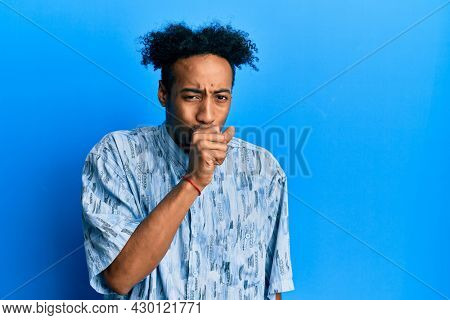 Young african american man with beard wearing casual clothes feeling unwell and coughing as symptom for cold or bronchitis. health care concept.