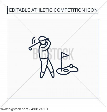 Sport Line Icon. Club And Ball Sport.hit Balls Into Series Of Holes. Athletic Competition Concept. I