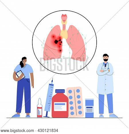 Lung Cancer Stage. Pulmonology Clinic. Respiratory System Damage, Tumor, Swelling In Internal Organs