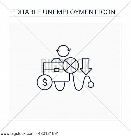Cyclical Unemployment Line Icon. Unemployed Workers Variation Over Economic Upturns, Downturns. Incr