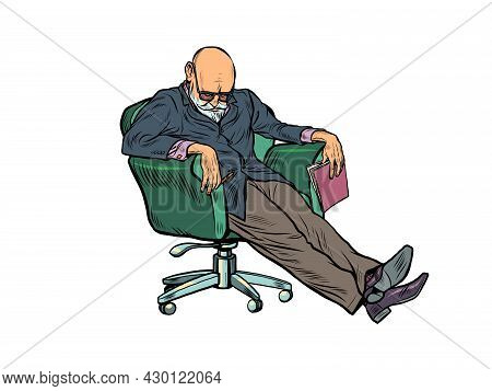 An Elderly Psychotherapist Fell Asleep During A Psychotherapy Session. Fatigue At Work, Overwork