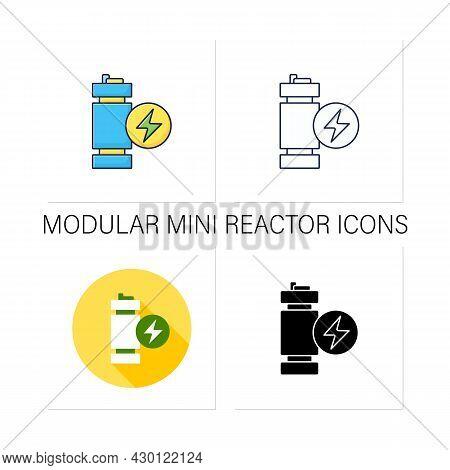 Modular Mini Reactor Icons Set. Nuclear Fission Reactor. Flexible Power Generation. Electricity Conc