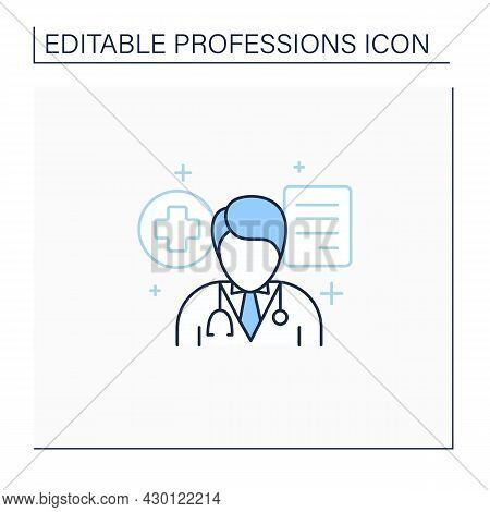 Doctor Line Icon. Professional. Treatment Patients.health Protector.important Job. Professions Conce