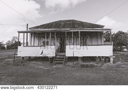 An Old Uninhabited Country Cottage Falling Into Disrepair In A Country Town