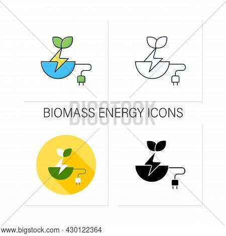 Biomass Energy Icons Set. Organic Energy Generation. Produced By Living Or Once-living Organisms. Po