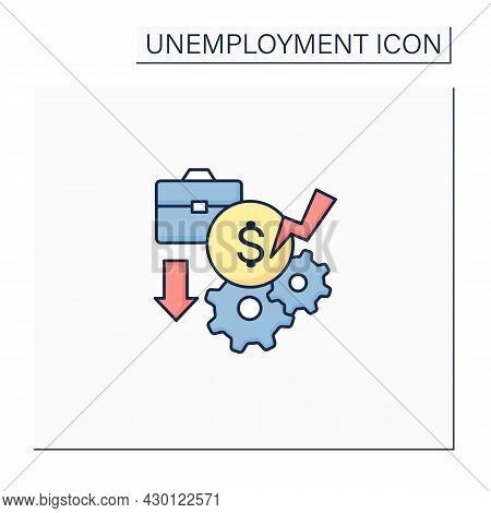 Pay Cuts Color Icon. Reducing Salary, Payment, Compensation, Budget Cutting. Unemployment Concept. I